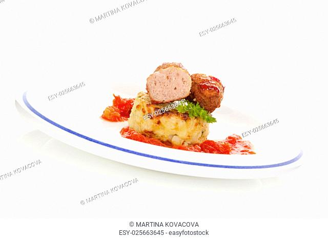 Meatballs with tomato sauce and mashed potatoes. Traditional mediterranean eating