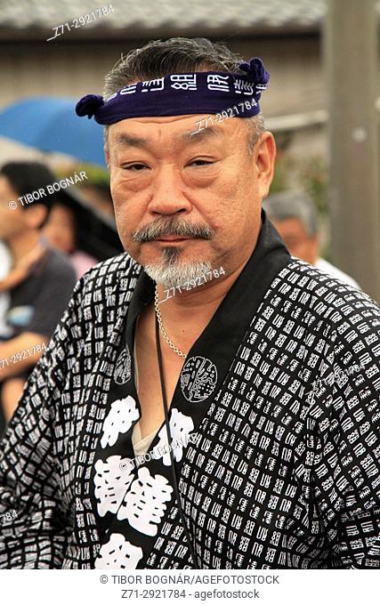 Japan, Shimodate, Gion Matsuri, festival, people, man, portrait,