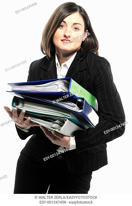 picture of happy successful businesswoman with folders