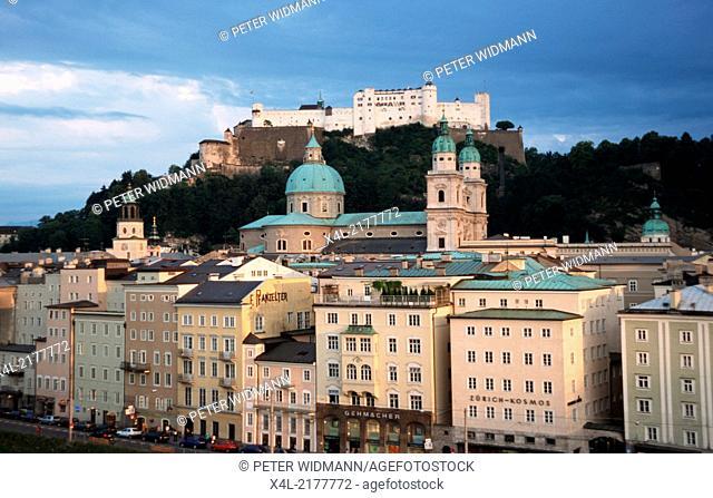 view from terrace of cafe Stein, Austria, Salzburg, Salzburg city, castle Hohe Salzburg