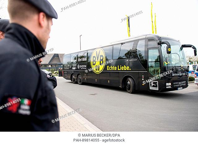 dpatop - ABVBteam bus arrives at the training grounds of Borussia Dortmund in Dortmund, Germany, 12 April 2017. Three explosions occurred next to the team bus...