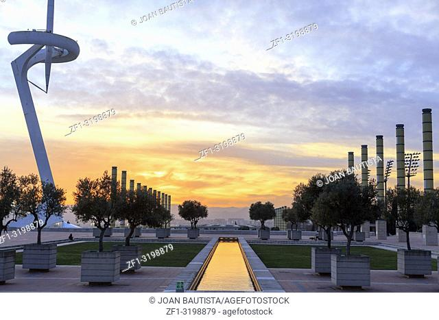 Sunset at Olympic area, parc montjuic, Barcelona