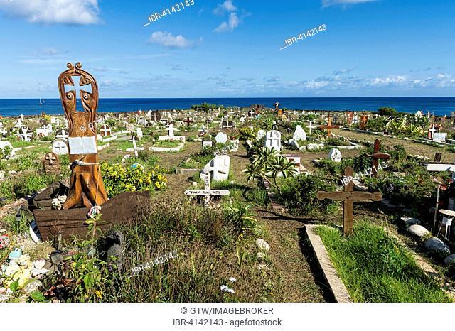 Hanga Roa cemetery, Easter Island, Chile