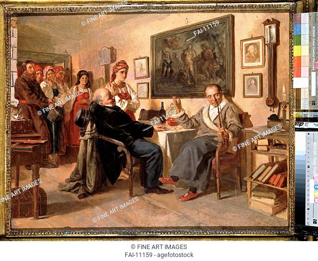 The Market. The sale of serfs. Nevrev, Nikolai Vasilyevich (1830-1904). Oil on canvas. Russian Painting of 19th cen. . 1866