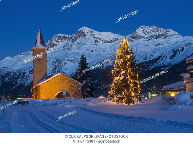 Christmas in Engadin at Baselga di Sils, Switzerland, Europe