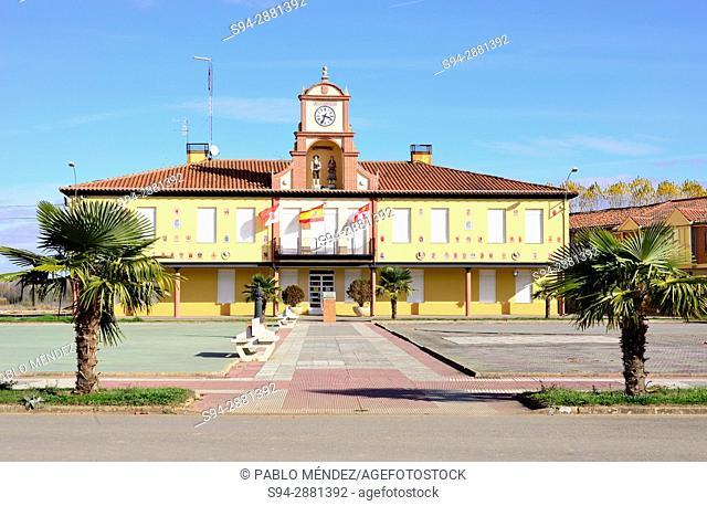 Town Hall and Main square of Alija del Infantado, Leon, Spain