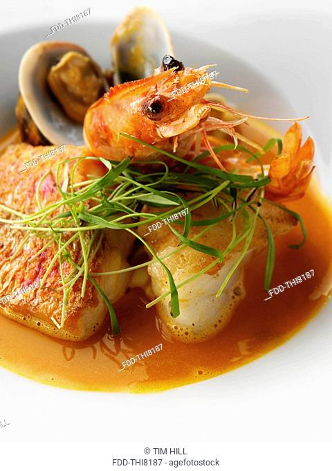 An individual portion of Bouillabaisse