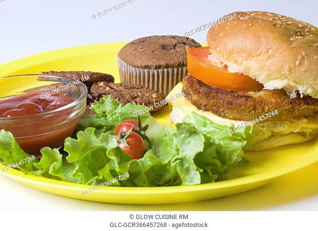 Close-up of lettuce salad with a hamburger
