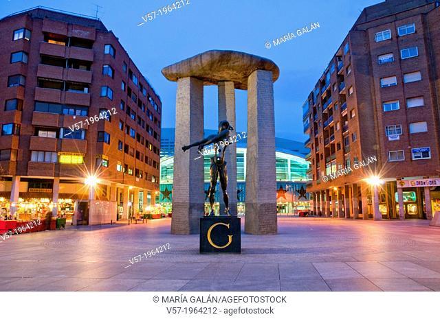 Plaza de Dali and Palacio de los Deportes, night view. Madrid, Spain