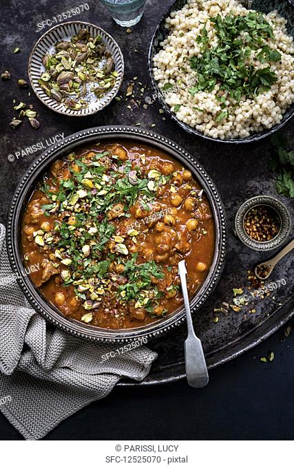 Lamb tagine with apricots and chickpeas (Morocco)