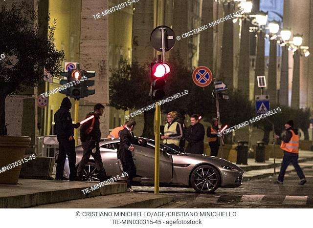"Set of movie """" Spectre """", filming night in Conciliazione street, the car Aston Martin DB10 during a scene"