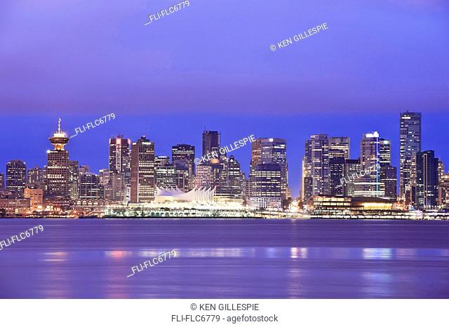 Vancouver skyline and Canada Place at night, Vancouver, British Columbia, Canada