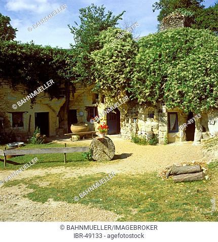 Rochemenier Departement Maine Loire France cave dwelling dug in shelly limestone now museum