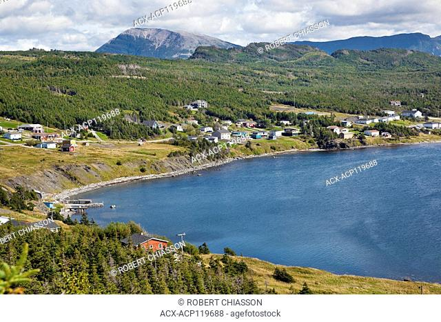 High-angle view of Rocky Harbour and Bear Cove with the barren Gros Morne Mountain in the background, Gros Morne National Park, Newfoundland, Canada