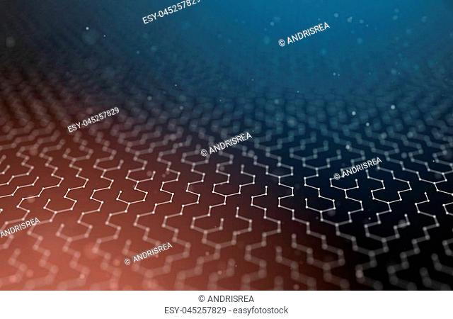Futuristic Hexagon Pattern Abstract Background. 3d Render Illustration. Space surface. Dark sci-fi backdrop. Dots and lines connections