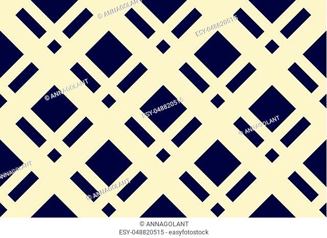 Geometric seamless pattern with intersecting lines, grids, cells. Criss-cross background in traditional tile style. For printing on fabric, paper, wrapping