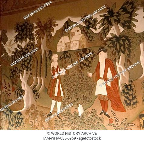 Hand painted Elizabethan wall hanging or covering at Blakesley Hall is a Tudor hall on Blakesley Road, Yardley, Birmingham, England. It dates to 1590