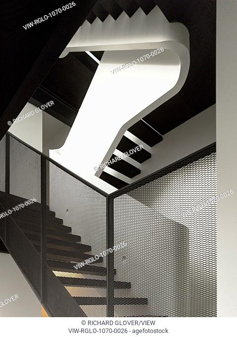 Stairwell detail and mesh railing. W House, Sydney, Australia. Architect: MCK Architects, 2015