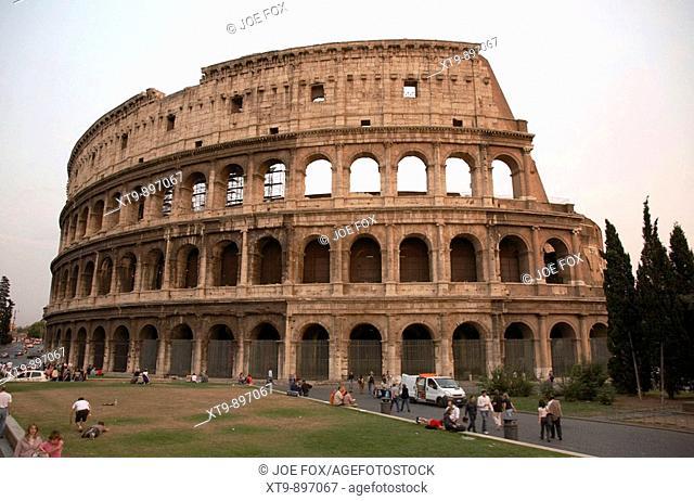 The Colosseum at dusk Rome Lazio Italy
