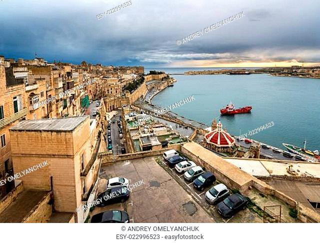 Aerial View on Valletta and Grand Harbour from Barrakka Gerdens, Malta