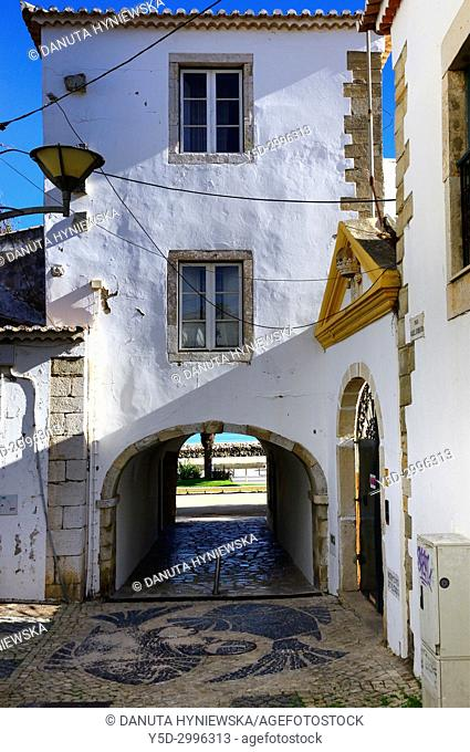 old town of Lagos, here San Goncalo gate - Porta de Sao Goncalo connecting old town with seaside, beaches and river, Lagos, Algarve , Portugal, Europe