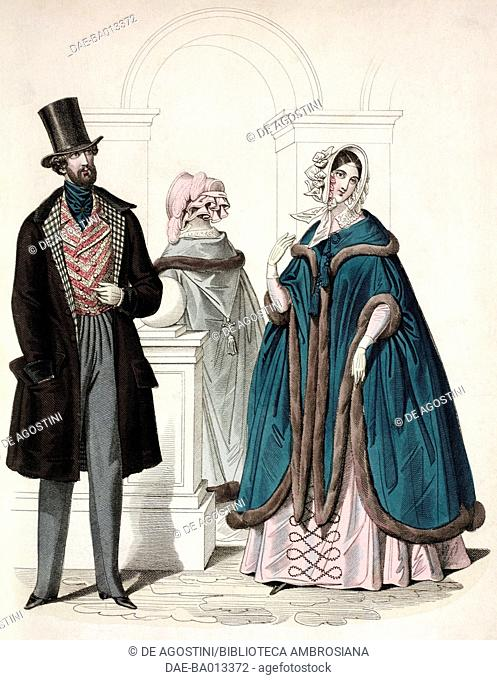 Male sketch in morning suit with coat and top hat and female sketches with cloak fringed by fur and hat, plate 60 taken from Parisian Fashion