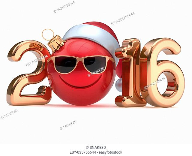 New 2016 Year's Eve calendar date smiley face emoticon bauble Christmas ball cartoon decoration Santa hat glasses person cute red gold