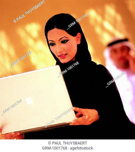 Arab woman using a laptop