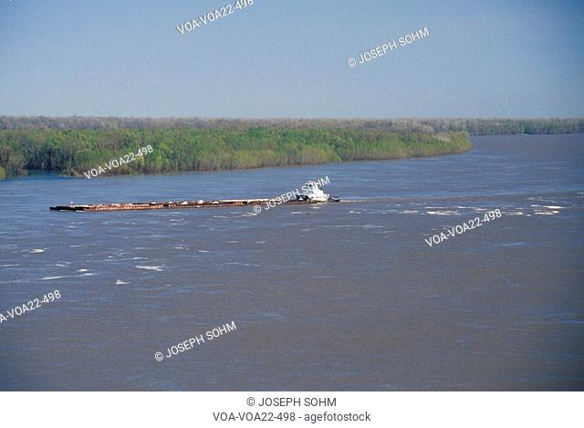 A barge in the Mississippi River in Vicksburg, Mississippi