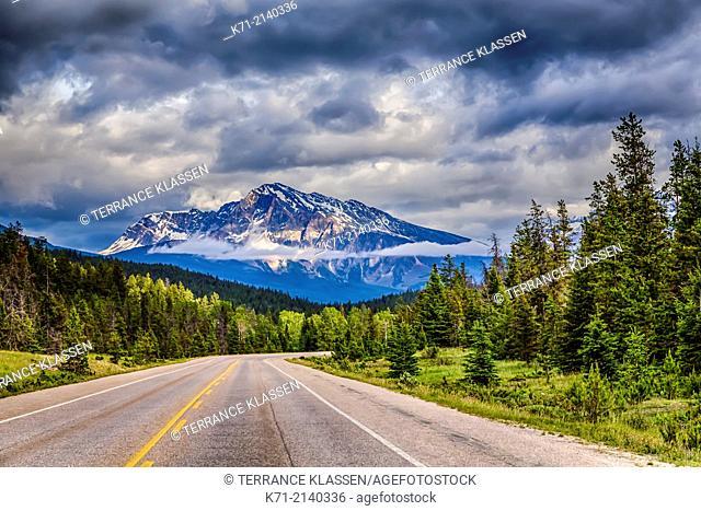 The Yellowhead Highway 16 in Jasper National Park, Alberta, Canada