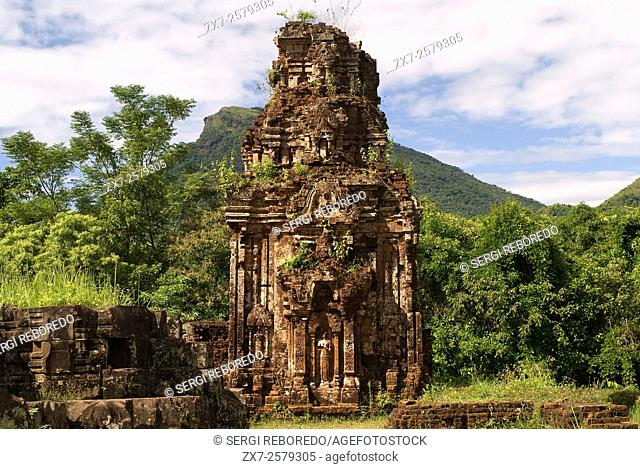 My son. Ancient tower at a world heritage archeaological site of the Champa Kingdom. My Son archaeological site, Vietnam