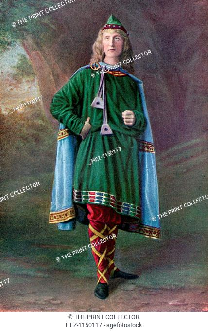 Saxon, (1910). A Saxon man wearing a banded Phrygian cap, a cloak of embroidered blue cloth, a green embroidered tunica, and red stockings with yellow...