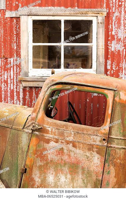 New Zealand, South Island, Canterbury, Burkes Pass, antique truck