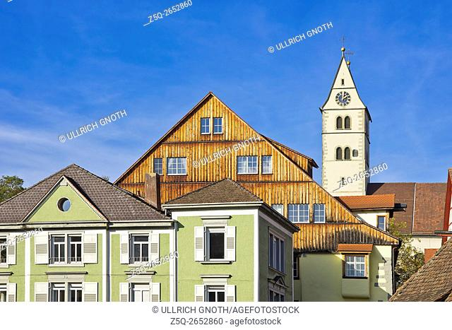 Parish Church of Visitation and roofs in the old town of Meersburg at Lake Constance, Germany