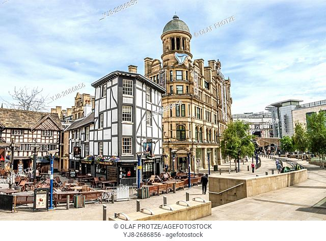 Historical Buildings at the Exchange Square in Manchester, England, UK