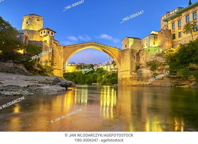 Evening view at Stari Most or Old Bridge, Neretva River, Mostar, Bosnia and Herzegovina