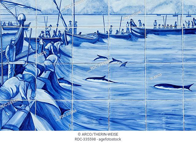 Azulejos, representing tuna fishing, Olhao, Algarve, Portugal