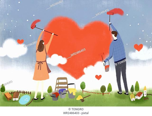 Romantic couple painting hearts