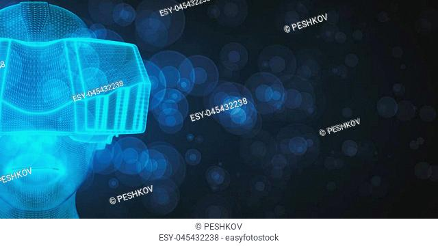 VR and innovation concept. Abstract Virtual Reality glasses on blurry background. 3D Rendering