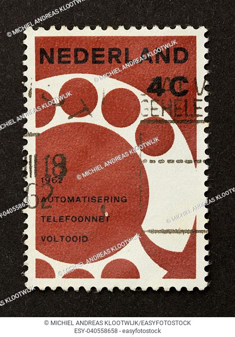 HOLLAND - CIRCA 1960: Stamp printed in the Netherlands shows the dutch telecommunication net, circa 1960