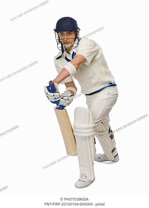 Cricket batsman playing forward defensive stroke