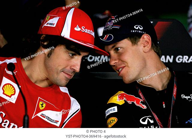 Press conference, Fernando Alonso ESP, Scuderia Ferrari, F-150 Italia and Sebastian Vettel GER, Red Bull Racing, RB7, Korean Grand Prix, Yeongam, Korean