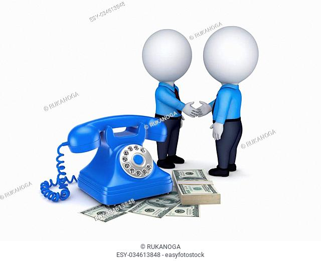 3d people shaking hands near vintage telephone and big pack of money