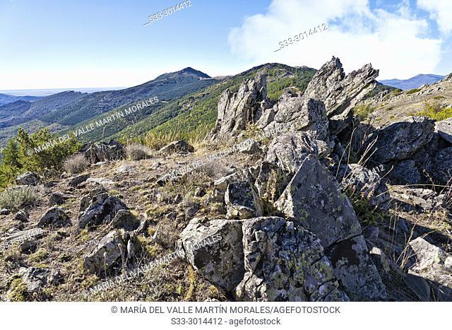 Cabra cliff from Montejo hill. Sierra Norte. Madrid. Spain