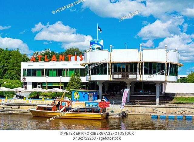 Atlantis hotel, with river cruise boat in front, Tarto, Estonia, Baltic States, Europe