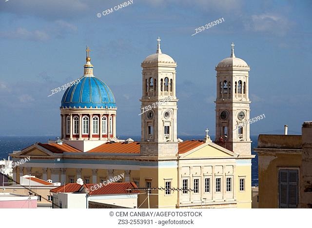 Blue dome and bell towers of the Neo Classic Greek Orthodox Church of Saint Nicholas, Ermoupolis, Syros, Cyclades Islands, Greek Islands, Greece, Europe