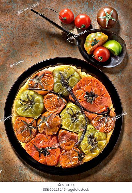 Multicolored tomato savoury tatin tart