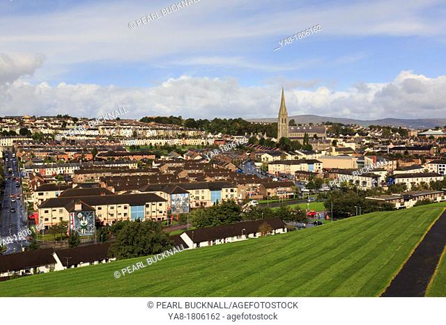 Derry, Co Londonderry, Northern Ireland, UK, Europe  Elevated overview to the Catholic Bogside or Nationalist area of the city from the walls