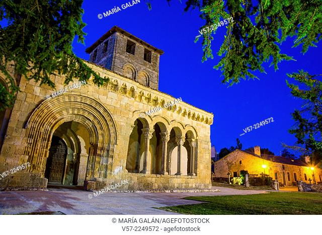 Facade of Romanesque church, night view. Sotosalbos, Segovia province, Castilla Leon, Spain