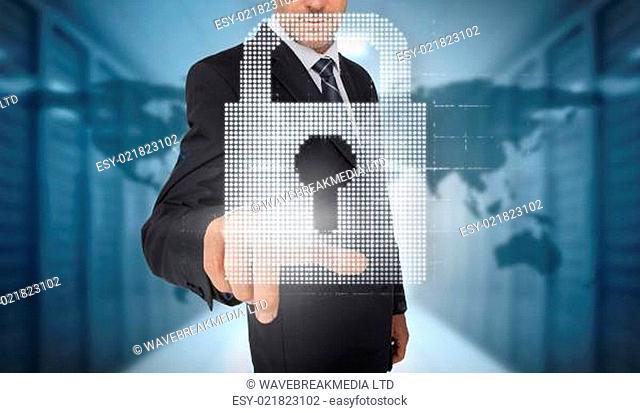 Businessman selecting a digital padlock